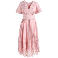 Chicwish Walk on Flower Path Crochet Dress in Pink (15.685 HUF) ❤ liked on Polyvore featuring dresses, pink, pink flower dress, pink day dress, macrame dress, blossom dress and crochet dress
