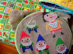 Gnomes. Free form cross stitch...