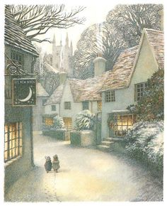 evanot:  Inga Moore: The Wind in the Willows - Darling little village.    http://agirlsrighttodream.tumblr.com/