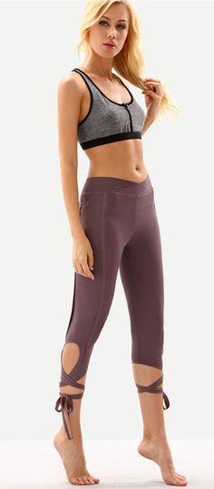 Purple Hollow Tie Skinny Leggings