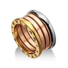 Bulgari B.Zero 1 18ct White, Pink & Yellow Gold Four Row Ring