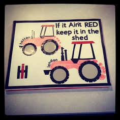 Foot prints on canvas ... Use Stock paper to create the tractor... Christmas gift for grandmom who owns a farm!