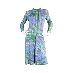 1960s Emilio Pucci Printed Silk Jersey Shift Dress | From a collection of rare vintage day dresses at https://www.1stdibs.com/fashion/clothing/day-dresses/
