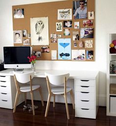 Office & Workspace:Office Workspace White Small Office Decor Ideas With White Workbench Drawer Underneath And White Work Chairs Wooden Legs Also Board For Photos And Monitor Feats White Wall Elegant Decorating Creative Home Workspace Ideas With a Peculiar Geometric Exterior in London