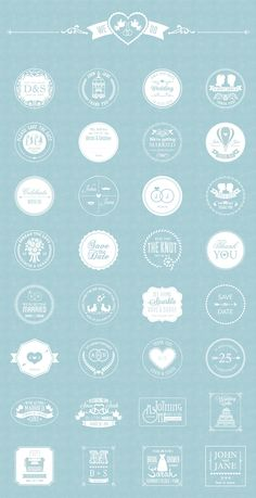 The pack includes 32 high quality vector free wedding badges, available in AI and EPS file format. Wedding Logo Design, Wedding Branding, Monogram Wedding, Web Design, Retro Design, Pochette Cd, Wedding Badges, Wedding Graphics, Free Photoshop