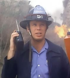 Kevin Tighe as Roy Desoto in the field fighting a fire. 80 Tv Shows, 1970s Tv Shows, Kevin Tighe, The Rockford Files, Randolph Mantooth, Emergency Doctor, Tv Show Casting, Playing Doctor, Nbc Tv
