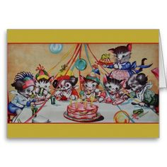 Vintage Cat And Dog Birthday Party Birthday Card