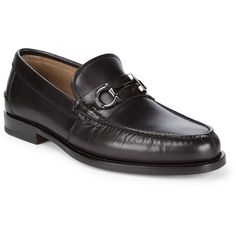 Salvatore Ferragamo Horsebit Detail Leather Loafers (8,900 MXN) ❤ liked on Polyvore featuring men's fashion, men's shoes, men's loafers, mens loafers, mens loafer shoes, mens black leather shoes, mens square toe dress shoes and mens leather loafers