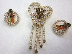 Opalescent Rhinestone Pin Earrings Cascading Dangles by COBAYLEY