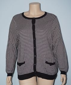 Lands' End 2x 20w-22w Houndstooth Button Down Supima Cotton Sweater Cardigan Top #LandsEnd #Cardigan