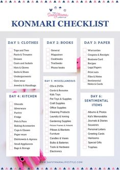 The best organizing tips from Marie Kondo! Print your FREE checklist to start organizing your home today. organization konmari The Best Marie Kondo Organization Tips So You're Less Overwhelmed Deep Cleaning Tips, Cleaning Checklist, House Cleaning Tips, Spring Cleaning, Cleaning Hacks, Cleaning Schedules, Daily Cleaning, Cleaning Supplies, Tips And Tricks