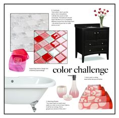 """""""Pink and Red Bathroom."""" by kerry-chesterman ❤ liked on Polyvore featuring interior, interiors, interior design, home, home decor, interior decorating, Orla Kiely, Shiseido, bathroom and colorchallenge"""