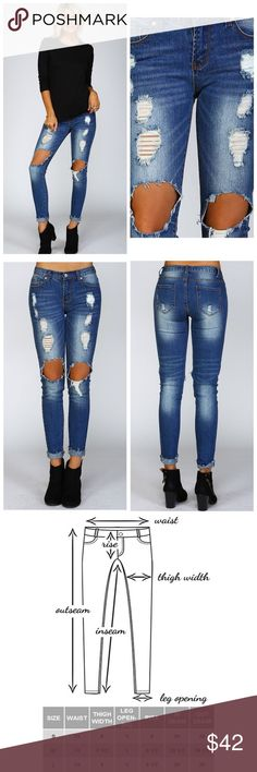Ripped Denim Skinny Jeans Stretchable distressed mid rise skinny jeans. Standard 5 pocket design with rivets. Model is 4'10 34B-24-34 wearing a small. (Runs slightly small so please see attached size chart Jeans Skinny