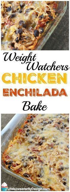 Weight Watchers Chicken Enchilada Bake is the perfect casserole for Cinco de Mayo! This hearty filling Weight Watchers dinner recipe is only 7 SmartPoints per serving! Spicy, next time will use mild enchilada sauce Poulet Weight Watchers, Weight Watchers Casserole, Plats Weight Watchers, Weight Watchers Diet, Weight Watcher Dinners, Weight Watchers Chicken, Weight Watcher Points, Weight Watchers Enchiladas, Weight Watchers Recipes