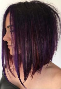 Purple Tinted Brunette Lob beautiful hair styles 70 Best A-Line Bob Hairstyles Screaming with Class and Style Medium Hair Styles, Short Hair Styles, Bob Styles, Brunette Lob, Rich Brunette, Bob Hairstyles Brunette, Angled Bob Hairstyles, Inverted Bob Hairstyles, Haircut And Color