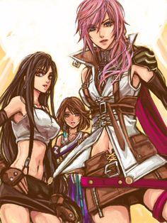 Women of final fantasy. Tifa, Lighting, and Yuna.