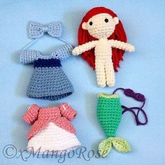 This digital download crochet pattern will produce an Amigurumi Princess Ariel plush doll inspired by Disney's The Little Mermai