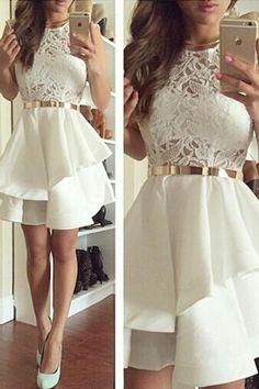 Short Homecoming Dresses, Ivory Lace Beautiful Short Homecoming Dresses #homecomingdresses #shortpromdresses #2018promdresses #partydresses