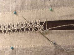 Interlaced Herringbone Insertion Stitch | The Compleatly Dressed Anachronist