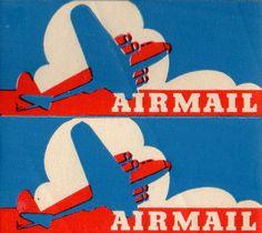 airmail labels, illustrator/designer unknown