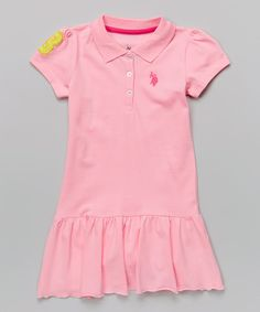 Take a look at the U.S. Polo Assn. Pink Lemonade Polo Drop-Waist Dress - Infant, Toddler & Girls on #zulily today!
