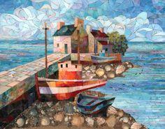 Мозаичная Картина Прибрежный пейзаж с красным баркасом