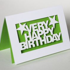 Very Happy Birthday Papercut Greetings Card - White or Turquoise