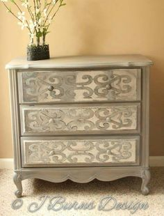 Mirrored French Provincial Chest With Diy Overlays. Painted Furniture,  French Provincial, Mirrored Furniture