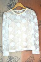 Mulheres Sexy verão bonito intelectual transparente blusa de renda bordado em torno do pescoço de manga comprida com roupa interior
