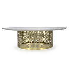 nixon cocktail table in marble and brass  JONATHAN ADLER