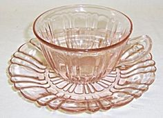 Hocking Pink OLD CAFE Depression CUP and SAUCER