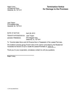 nl termination notice for damage to premises ez landlord forms