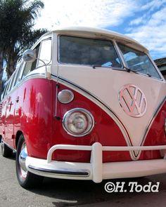 Red Volkswagen Bus VW
