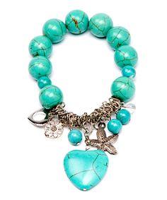 Turquoise & Silver Charm Stretch Bracelet