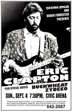 Eric Clapton With Buckwheat Zydeco Concert Poster Print VERY LIMITED RARE