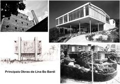Lina Bo Bardi : (TOP LEFT CLOCKWISE) SESC Pompeia (Constructed 1977, redevelopment of former factory, São Paulo) : Glass House (built for her and her husband 1949, district of Morumbi, Sao Paulo) : House of Call Call (built 1958, demolished 1984, Salvador) : MASP (First major Lina project built 1957, São Paulo)