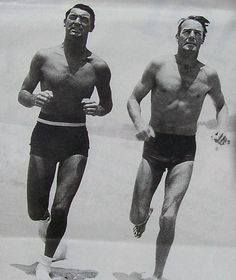 1935 Cary Grant and Randolph Scott Swim Trunks Running On Beach Classic Queer Hollywood Vintage Photo by Christian Montone, via Flickr