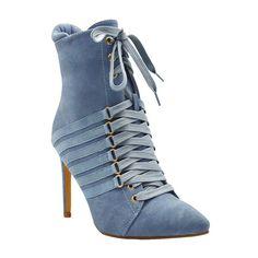 Ester-3 Women's Lace Up Heeled Bootie- Blue