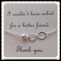 Personalized Sterling Silver Infinity Bracelet -Custom Eternity Bracelet w Single Chain and Swarovski Pearl - Gift Sister - Birthday Present