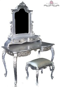 Liv Chic Interiors Modern Baroque Vanity in Silver Leaf interior design, liv chic, baroque furniture