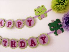 frog prince party ideas | Frog Prince Birthday Party Banner - Purple and Green Birthday Banner ...