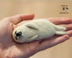 Baby seal miniature needle felted brooch by JackadiHandmade