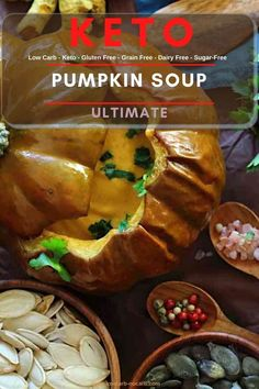 Easy to make, creamy roasted low carb pumpkin soup recipe to warm us up whenever needed. Additional Rosemary flavor will fill your entire kitchen with an aroma, you would want to bake it every day.
