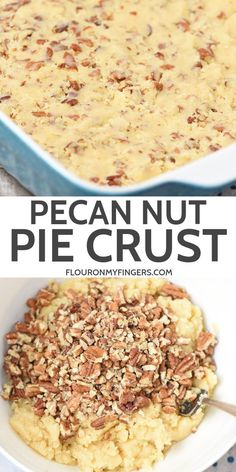How to make a no fail, pecan nut, no roll pie crust recipe that's easy, homemade, and delicious. It's the best buttery crust for any pie or no bake dessert. No Roll Pie Crust Recipe, Pecan Pie Crust Recipe, Easy Pie Crust, Homemade Pie Crusts, Pie Crust Recipes, Pecan Recipes, Cherry Delight Dessert, Sweet Pie, Cookie Crust