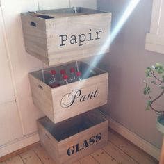 Recycling boxes for paper, plastic and glass. The boxes are from Granit, and the text was painted on with the assistance of an overhead. Recycling Boxes, Toy Chest, Storage Chest, Plastic, Home Decor, Cash Register, Decoration Home, Room Decor, Home Interior Design