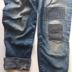 Sashiko inspired mending of the jeans