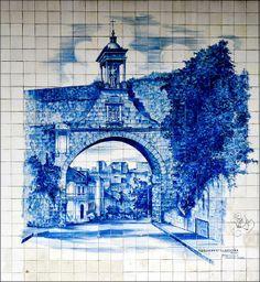 Aqueduto Sao Sebastiao Blue tile mural from the streets of Coimbra, Portugal