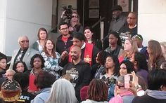 Rev. Barber speaks from the Dallas County Coudthouse