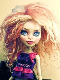 OOAK Custom Wig Cam Monster High Doll Tibetan Lamb Locks Mauve Pink Long Curly | eBay