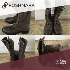 Brown, lace up boots Brown, mid/ upper calf lace up boots, women's size 9 Shoes Lace Up Boots